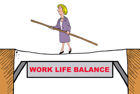 get tired: Business cartoon on work life balance. Stock Photo