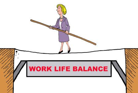 disparity: Business cartoon on work life balance. Stock Photo