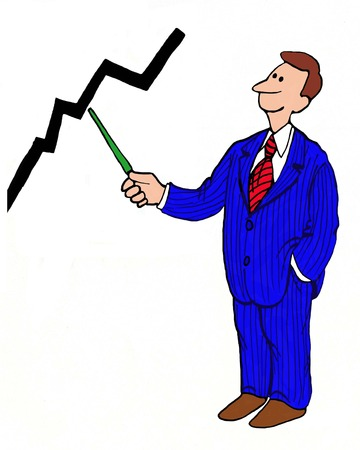 sales growth: Business cartoon of businessman pointing to sales growth. Stock Photo