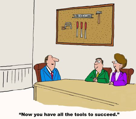 knowledgeable: Business cartoon on the tools to succeed.