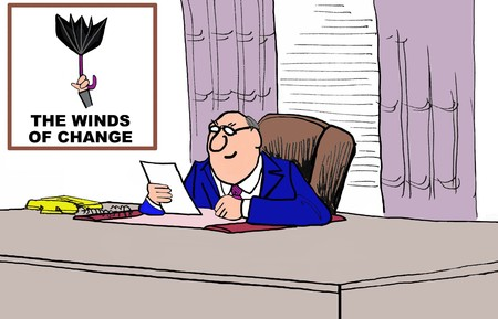 ongoing: Business cartoon on the winds of change Stock Photo