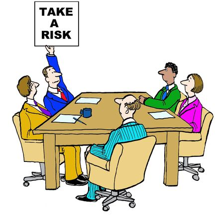 business risk: Business cartoon emphasizing take a risk. Stock Photo