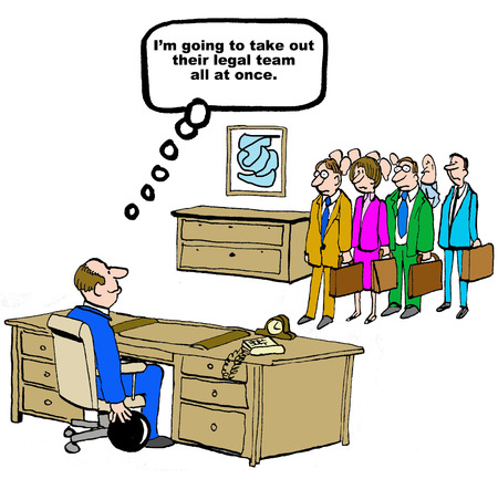 plaintiff: Legal cartoon about opposing legal team.