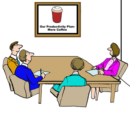 energized: Business cartoon referring to the teams productivity plan  more coffee.