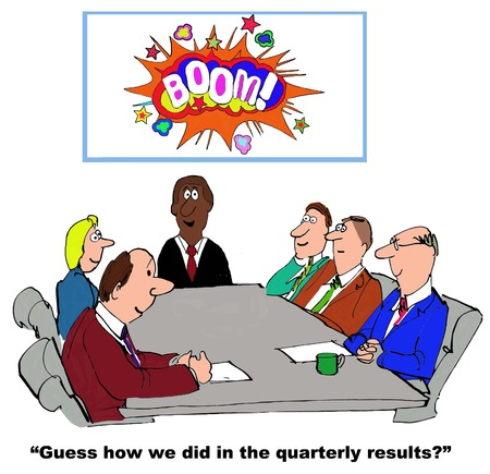 accomplish: Business cartoon showing successful quarterly results. Stock Photo