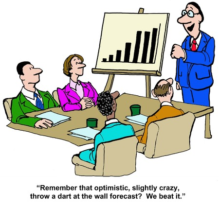 sales meeting: Business cartoon showing the team beat the optimistic sales forecast.