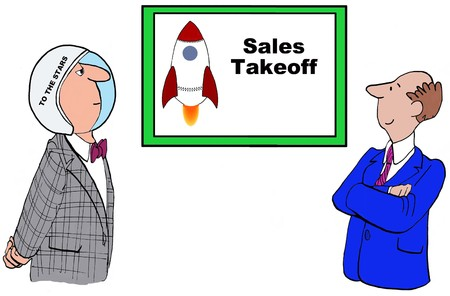 Business cartoon showing sales takeoff. Stock Photo