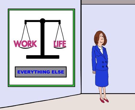 life balance: Business cartoon on work life balance. Stock Photo