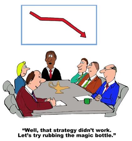 대신 작동하지 않았다 그들이 마법의 병을 문질러하는 전략을 보여주는 비즈니스 만화. 스톡 콘텐츠