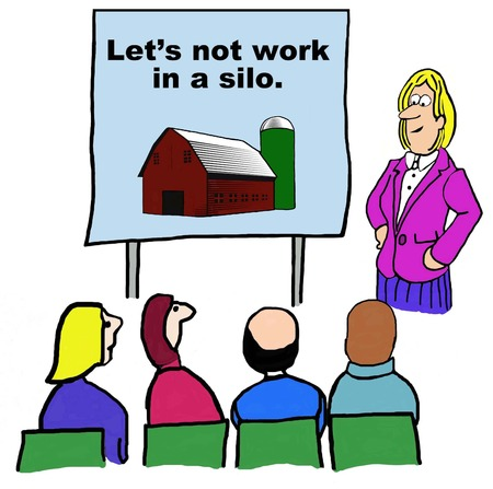 Business cartoon emphasizing to not work in a silo.