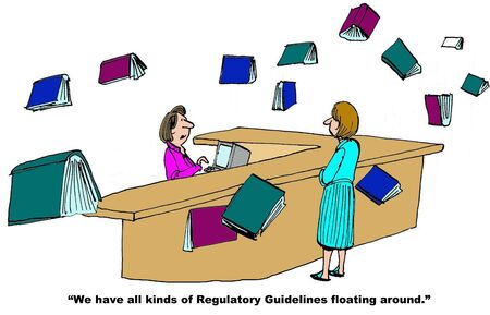 librarian: Business cartoon on Regulatory Guidelines.