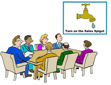 increased: Business cartoon showing the need for increased sales. Stock Photo