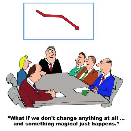 avoiding: Business cartoon where the manager is resisting change management. Stock Photo