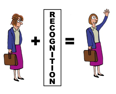 disheveled: Business cartoon showing the positive impact of recognition.