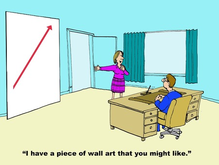 cfo: Business cartoon of wall art showing increasing sales. Stock Photo