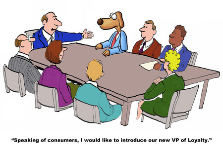 job descriptions: Business cartoon on the new VP of Loyalty. Stock Photo