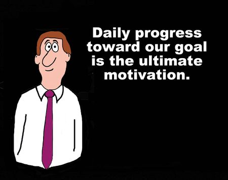 ultimate: Business cartoon concerning the ultimate motivation. Stock Photo