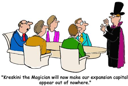 appear: Business cartoon, ... expansion capital appear out of nowhere. Stock Photo