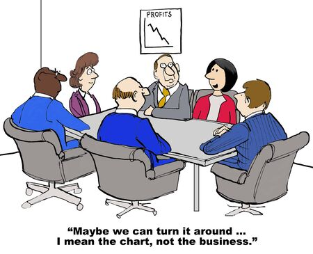 Business cartoon showing a meeting and chart with decking sales, 'Maybe we can turn it around... I mean the chart, not the business'. Archivio Fotografico