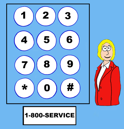 knowledgeable: Business cartoon of businesswoman, telephone touch pad and 1-800-SERVICE. Stock Photo