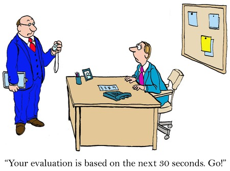 Business cartoon of performance evaluation, '... based on the next 30 seconds. Go!'. Banque d'images