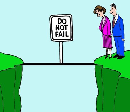 cartoons: Business cartoon of two businesspeople on cliffs, do not fail.