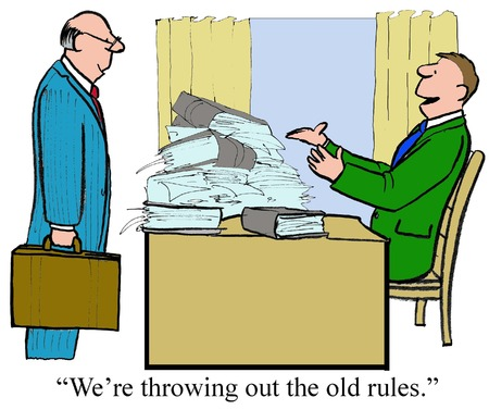 new rules: Business cartoon of business leader, were throwing out the old rules.