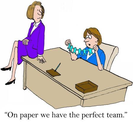 Beeldverhaal van twee managers, 'op papier hebben we het perfecte team'. Stockfoto