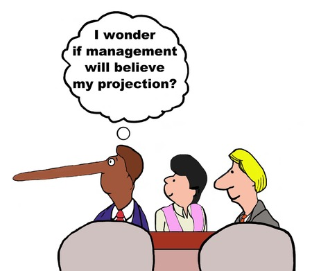 long nose: Business cartoon of manager with long nose, I wonder if management will believe my projection.