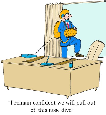 counsel: Business cartoon of businessman giving conflicting information, ...we will pull out of the nose dive.