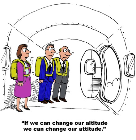 cartoons: Business cartoon of businesswoman, ...we can change our attitude.