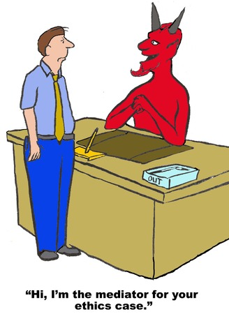 Business cartoon of devil saying to businessman, 'I'm the mediator for your ethics case'.