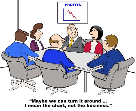 Business cartoon of meeting and chart with declining profits, ...we can turn it around... I mean the chart, not the business.