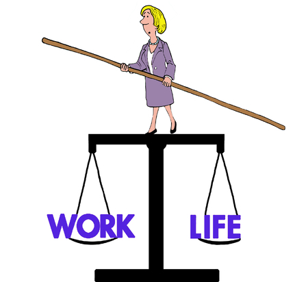weighs: Business cartoon of businesswoman balancing on scale that weighs work and life.