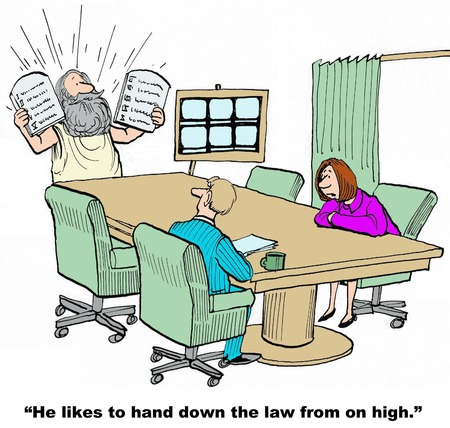 demanding: Business cartoon of leader, Moses, in meeting, he likes to hand down the law from on high. Stock Photo