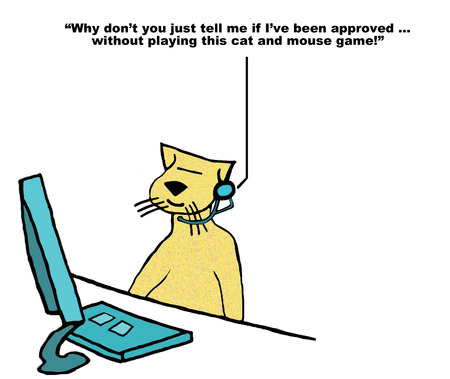 Business cartoon about customer service rep cat, customer says, ... stop playing this cat and mouse game. Stock Photo