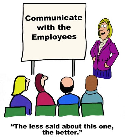 informed: Business cartoon of seminar on Communicate with the Employees.
