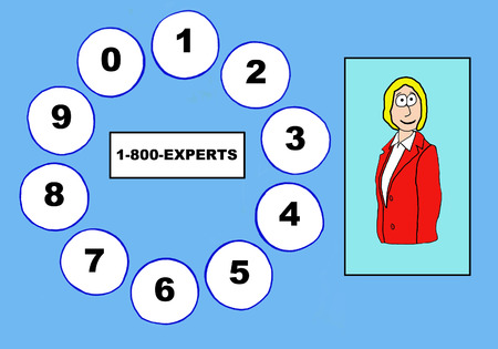 knowledgeable: Business cartoon of businesswoman, telephone dial pad and 1-800-EXPERTS.