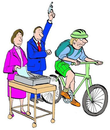 race winner: Business cartoon depicting a race between to document delivery methods: fax machine and bike messenger. Stock Photo