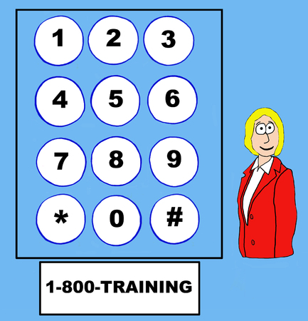 knowledgeable: Business cartoon of businesswoman, telephone touch pad and 1-800-TRAINING. Stock Photo