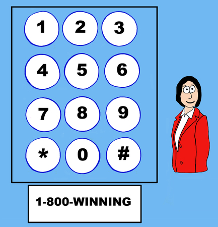 accomplish: Business cartoon of businesswoman, telephone touch pad, and 1-800-WINNING.