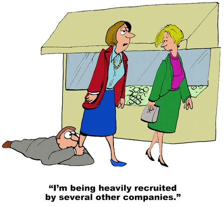 Business cartoon of manager holding businesswomans leg, ...heavily recruited... other companies. Stock Photo