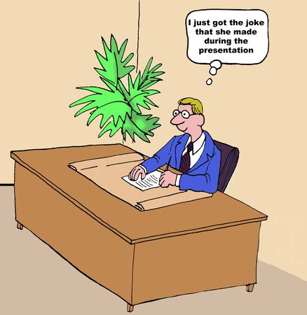 finally: Business cartoon of businessman who finally got the joke.