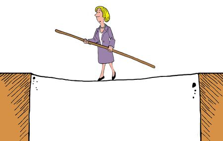 tightrope: Business cartoon of businesswoman walking on a tightrope. Stock Photo