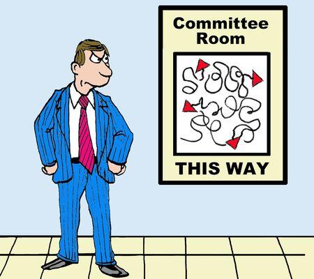 失われたビジネスマンおよび委員会部屋を見つけようとして無駄なマップのビジネス漫画。