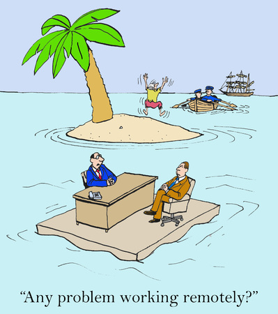 telecommute: Business cartoon of remote worker eager to leave island as a new worker is interviewed for the position. Stock Photo