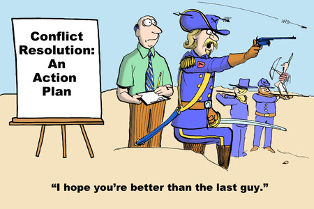 action plan: Business cartoon of army at war and seminar leader about to give conflict resolution: an action plan seminar. Stock Photo