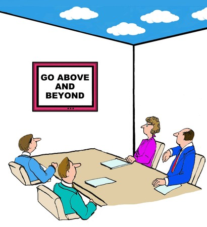 beyond: Business cartoon of meeting room with ceiling open to the sky, go above and beyond. Stock Photo
