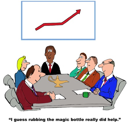 sales meeting: Business cartoon of meeting, brass bottle, increasing sales chart, I guess rubbing the magic bottle really did help.