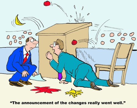 obrero caricatura: El anuncio de los cambios Foto de archivo